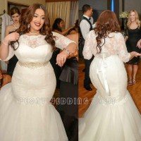 2016 Sexy Lace Plus Size Wedding Dresses With Sleeves ...