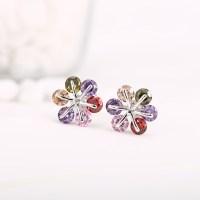 Buy H&F nice design multi color &white flower shape CZ ...