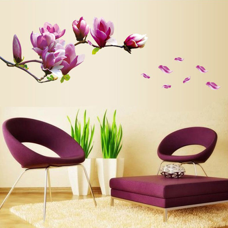 purple magnolia flower wall stickers bedroom parlor wall stickers home bedroom wall art family member bedroom wall stickers