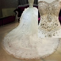 2015 Corset Crystal Ball Gown Bling Wedding Dresses ...