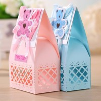 Wholesale Pink And Blue Cute Baby Favors Boxes Baptism