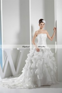 Wholesale Wedding Dress Taffeta Strapless A Line Applique ...
