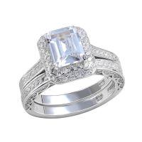 Platinum Plated Wedding Ring Bridal Sets Emerald Cut CZ ...