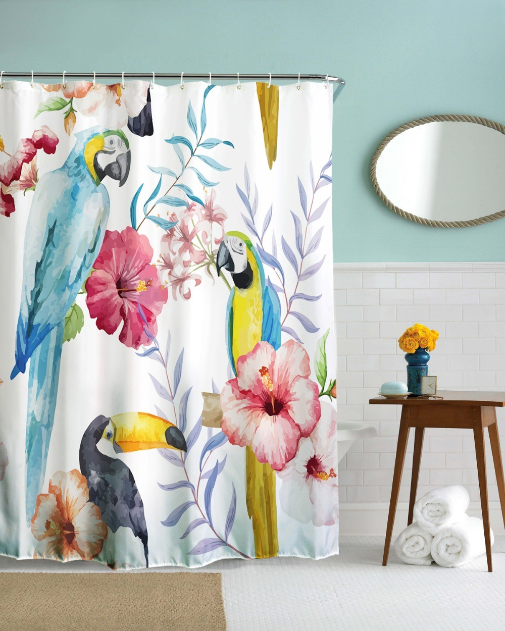 Curtain Fabric Wholesale Wholesale 3d Novel Parrot Flower Waterproof Shower Curtain Fabric Polyester Bathroom Curtain Bath Curtain Cartoon Cortinas De Bano Bird