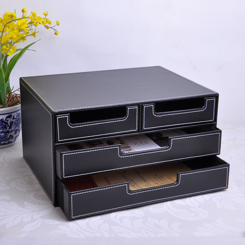 3 Layer 4 Drawer Wood Structure Leather Desk Filing