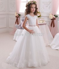 Pretty Scoop Ivory White Lace Flower Girls Dresses 2016 ...