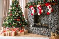 Aliexpress.com : Buy 7x7ft Christmas Backdrop,Fireplace ...