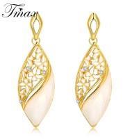 Lucky Crystal Leaves Drop Earrings For Women Fashion ...