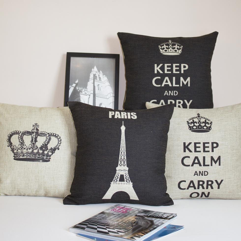 Black And White Brief Letter Eiffel Tower Sofa Cushion