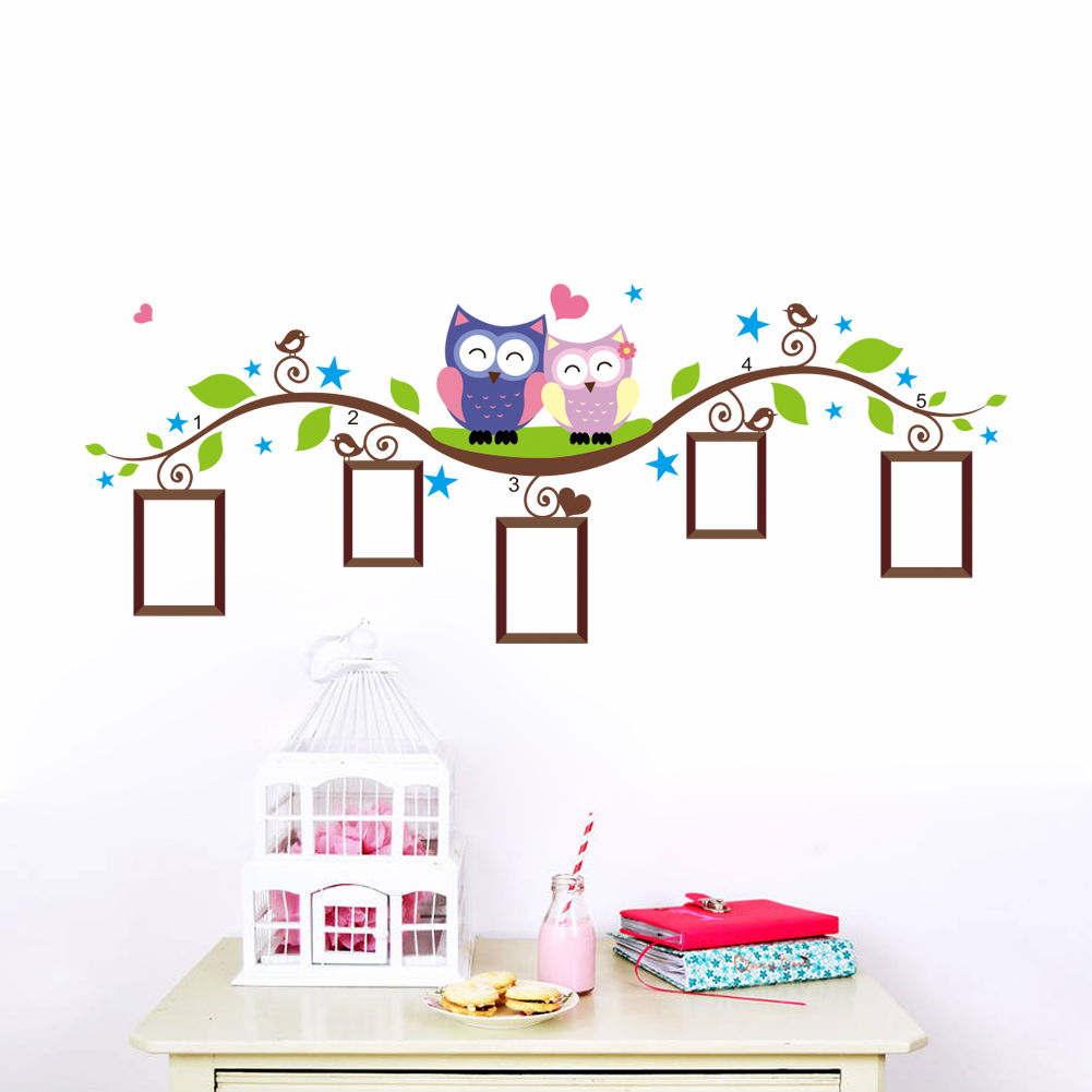 owls photo frame wall stickers home decoration bedrrom animals wall wall sticker decor beautiful wall sticker decoration