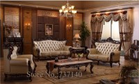 sofa set living room furniture wood and genuine leather ...