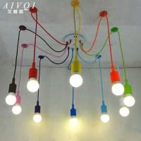 Silicone Colorful Pendant Lights DIY Multi color E27 Bulb ...