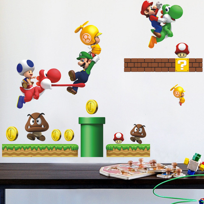 wall stickers home decor hot classic mario stickers removable wall mario wall decals grasscloth wallpaper