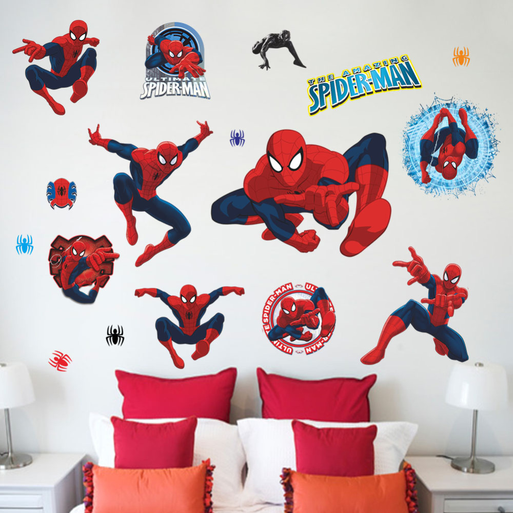 movie character cartoon spiderman wall stickers kids rooms wall personalized spiderman decal removable wall sticker home decor art