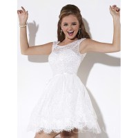 Beautiful White Lace Prom Dresses 2016 Scoop Neckline Cap ...