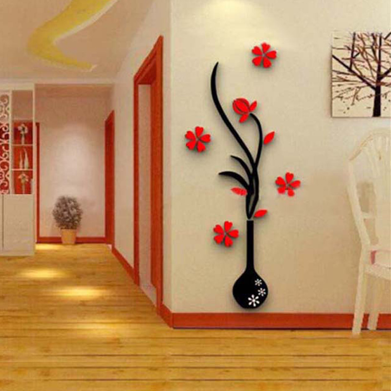 Edtoy 3D vase plum wall stickers living room sofa TV Momm - decoracion de paredes