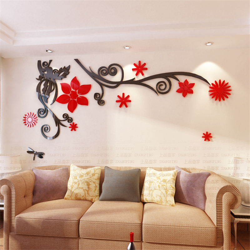 vine acrylic crystal wall stickers home decor diy mirror wall sticker home sweet home wall sticker decals