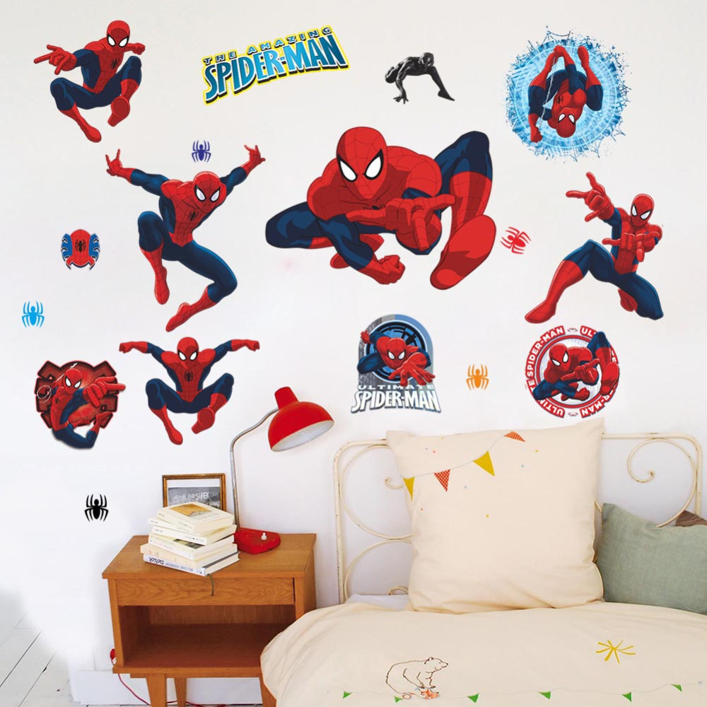 movie character cartoon spiderman wall stickers kids rooms wall price home spiderman large wall stickers