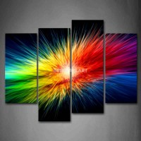 Colors Explode Colorful 4 Piece Painting On Canvas Wall ...
