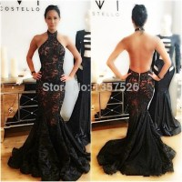 Gorgeous Sexy Black Halter Mermaid Lace Evening Dresses ...