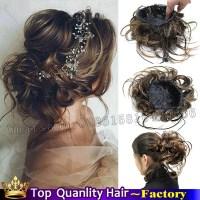 Fake bun hair pieces clip in bun chignon hairpiece ...