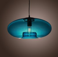 American Modern glass pendant liights With Blue Round
