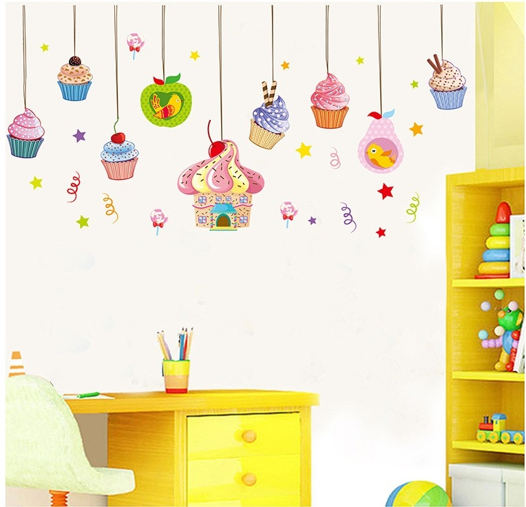 candy cake wall stickers decals ice cream adesivo parede wallpaper picture candy shoppe giant wall decals