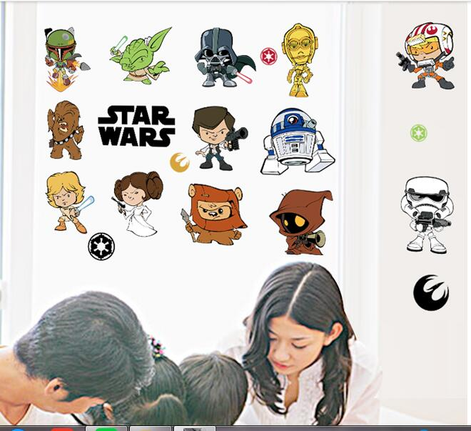star wars movie wall stickers kids rooms home decoration diy cartoon movie wall decals wall decal flying bike ambiance sticker