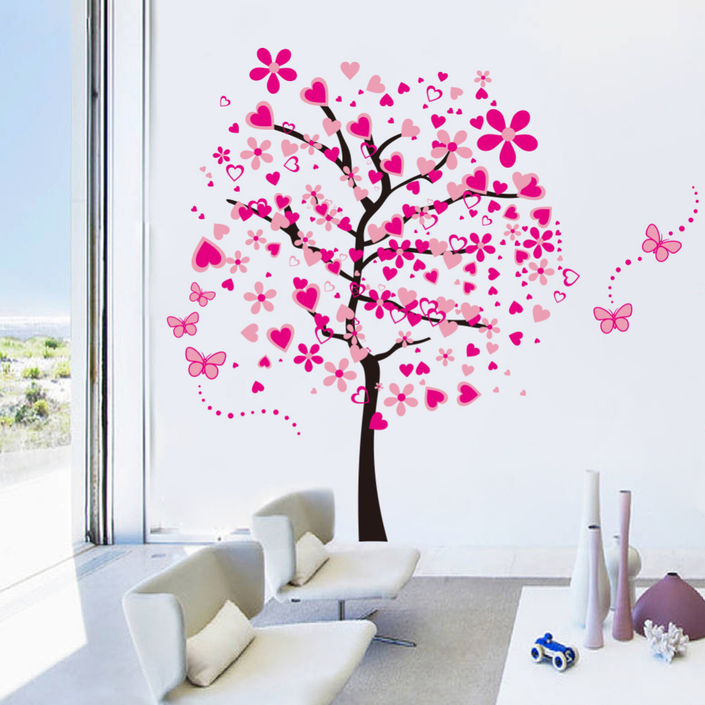larger tree wall decal flower wall sticker zooyoo butterfly pics photos lively flowers large wall decals stickers appliques home