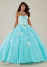 Long Sweet 16 Ball Gown Aqua Puffy Quinceanera Dresses ...