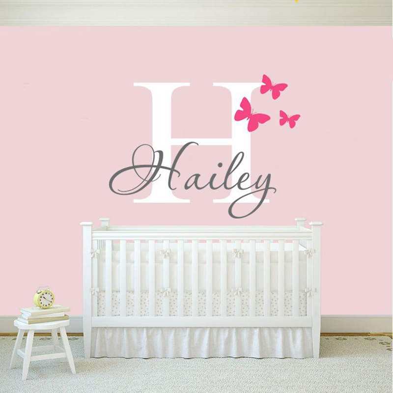 girls wall decal sticker butterfly wall decals stickers wall stickers kids personalised names decorative kids wall sticker