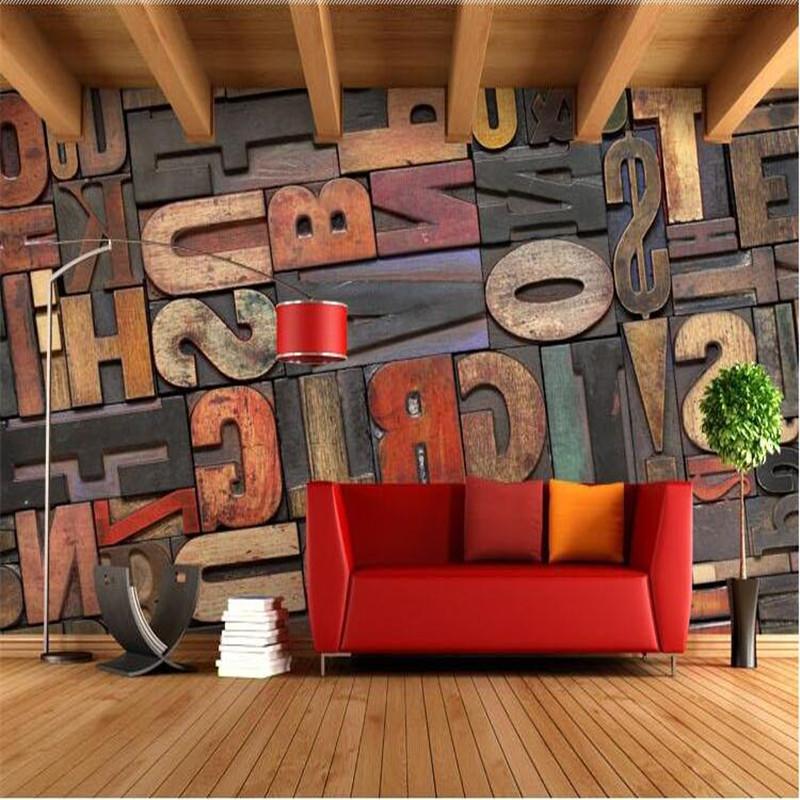3d Stereoscopic Mural Wallpaper Photo Wallpaper High Quality 3d Stereoscopic Wood Alphabet
