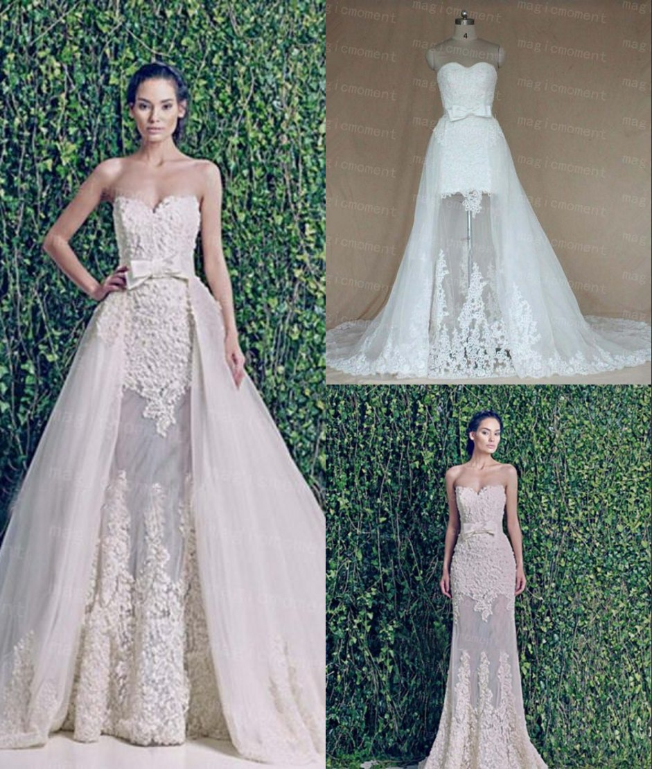 short wedding dress with detachable train detachable wedding dresses Short Wedding Dress With Detachable Train