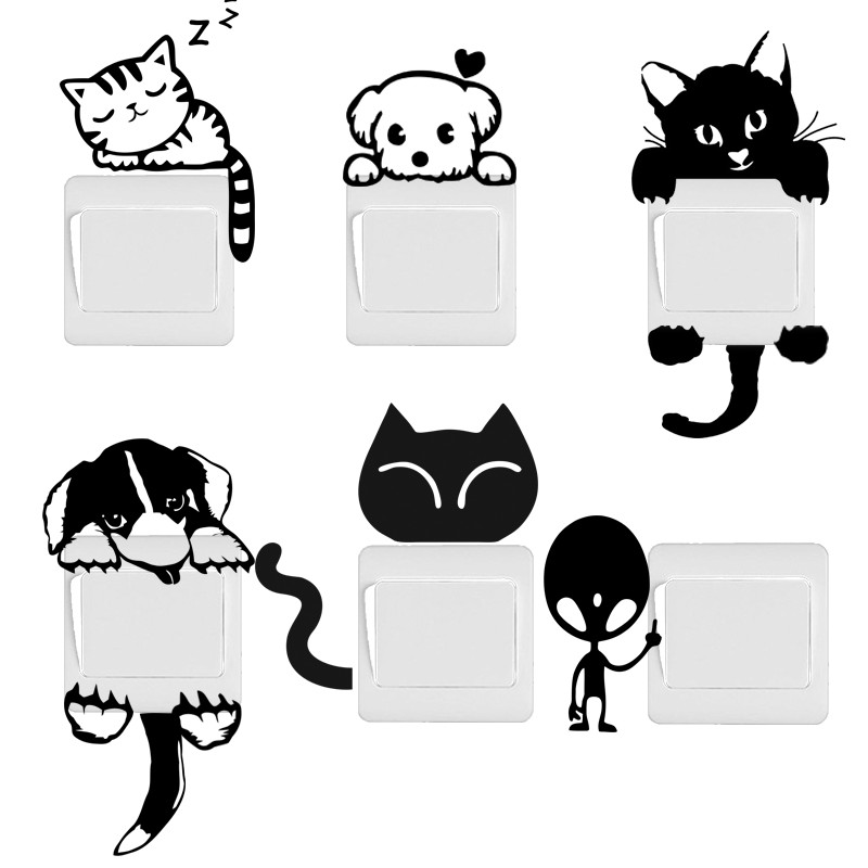 buy diy funny cute cat dog switch stickers wall stickers contemporary cat kitten wall decoration wall art