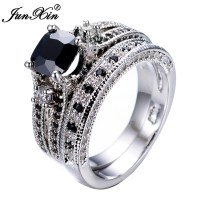 Gorgeous Black Sapphire Crystal Ring Sets Promise ...