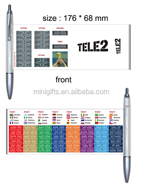 Plastic Advertising Ball Pen With Flyer Calendar - Buy Calendar Pen