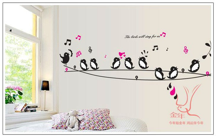 swallow music princess cartoon baby room decor removable wall decals swallow tattoo bird animal wall sticker world wall stickers