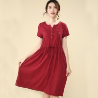 Vintage Linen Cotton Casual Short Sleeve Loose Plus Size ...