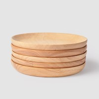 Japanese Natural wood plate Round Household Sushi Dessert ...