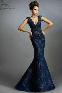 Long Mermaid Prom Dress 2015 PM977 Gorgeous Appliques V ...