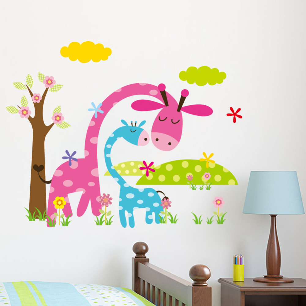 cartoon animal forest wall stickers decals nursery kids room nursery animals tree wall decals wall sticker outlet