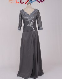 New V Neck Appliqued Chiffon Brides Mother Dresses for
