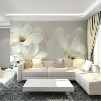Wholesale 3d wall mural wallpaper with white magnolia ...
