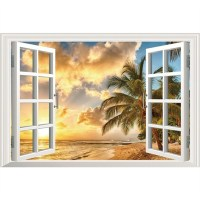 Sea view false window art wall stickers Beach sunset 3d ...