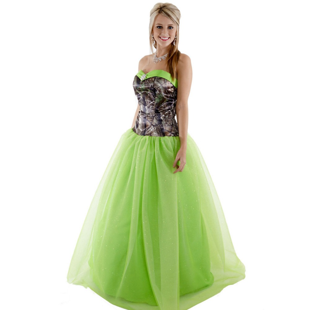 strapless printing realtree camouflage camo ball gown prom