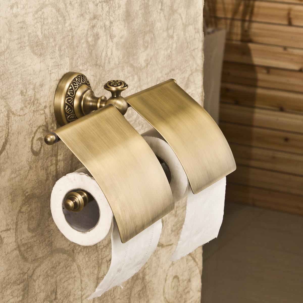 Antique Toilet Paper Dispenser Fashion Antique Pure Copper Double Roll Stand Vintage