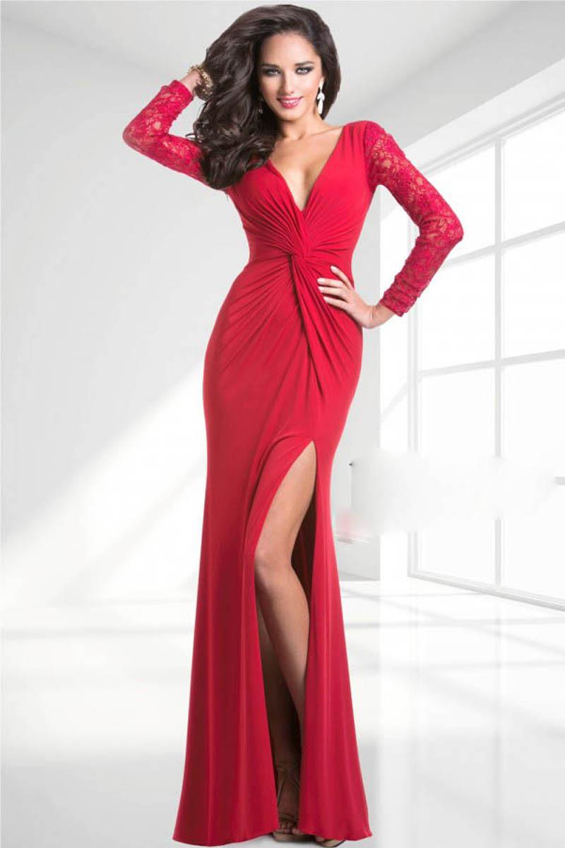 Elegant V Neck Mermaid Red Evening Dresses 2015 Long
