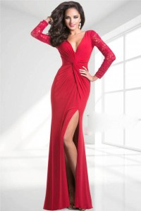 Elegant V Neck Mermaid Red Evening Dresses 2015 Long ...