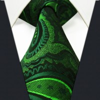 U30 Extra long size Paisley Floral Dark Green Black Mens ...