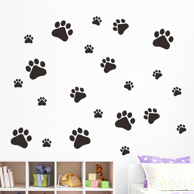 multicolor dog cat paw print wall stickers walking paw prints wall leopard print heart reusable wall decals